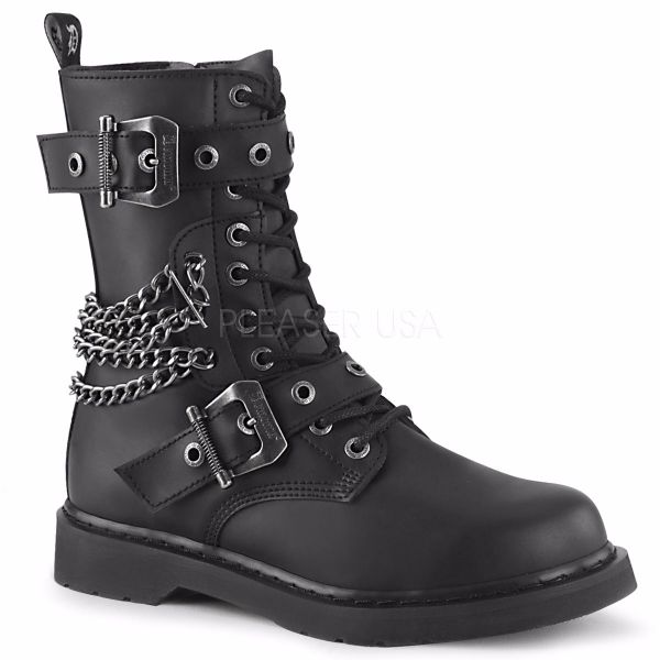 Product image of Demonia Bolts-250 Black Vegan Faux Leather 1 1/4 inch (3.2 cm) Heel 10 Eyelet  Mid-Calf Combat Boot Side Zip