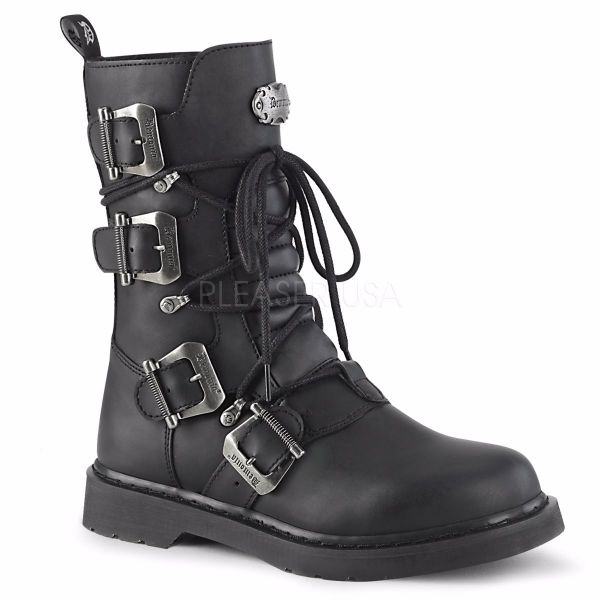 Product image of Demonia Bolts-265 Black Vegan Faux Leather 1 1/4 inch (3.2 cm) Heel Mid-Calf Combat Boot Side Zip