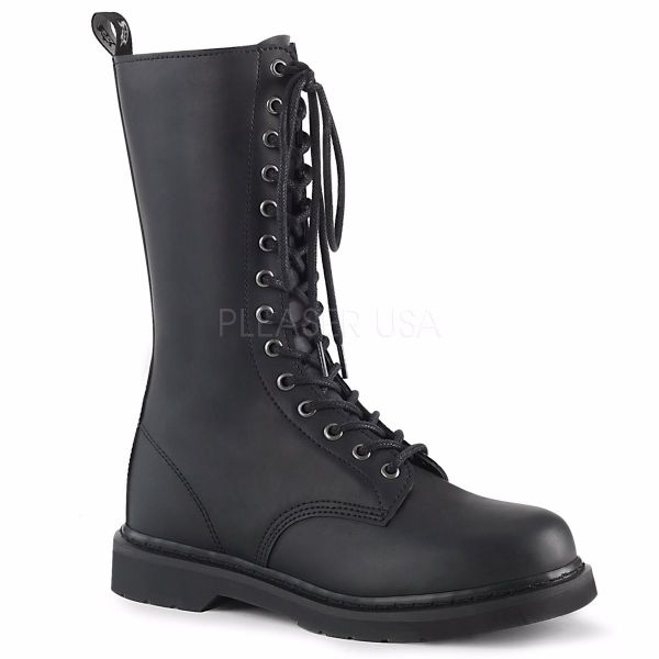 Product image of Demonia Bolts-300 Black Vegan Faux Leather 1 1/4 inch (3.2 cm) Heel 14-Eyelet Mid Calf Unisex Vegan Boot Side Zip