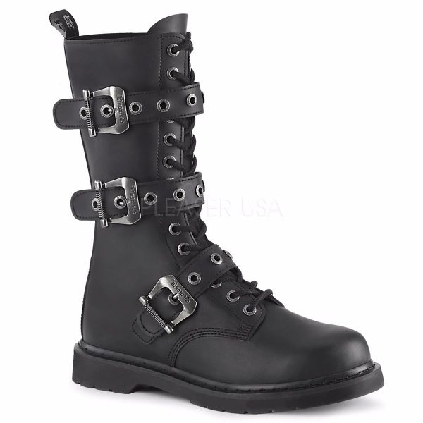 Product image of Demonia Bolts-330 Black Vegan Faux Leather 1 1/4 inch (3.2 cm) Heel 14 Eyelet Mid-Calf Combat Boot Side Zip