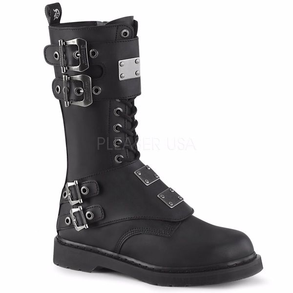 Product image of Demonia Bolts-345 Black Vegan Faux Leather 1 1/4 inch (3.2 cm) Heel 14 Eyelet  Mid-Calf Combat Boot Side Zip