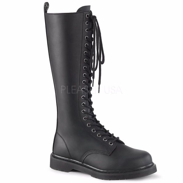 Product image of Demonia Bolts-400 Black Vegan Faux Leather 1 1/4 inch (3.2 cm) Heel 20-Eyelet Knee High Unisex Vegan Boot Side Zip
