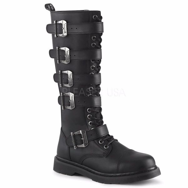 Product image of Demonia Bolts-425 Black Vegan Faux Leather 1 1/4 inch (3.2 cm) Heel 20 Eyelet  Knee High Combat Boot Side Zip