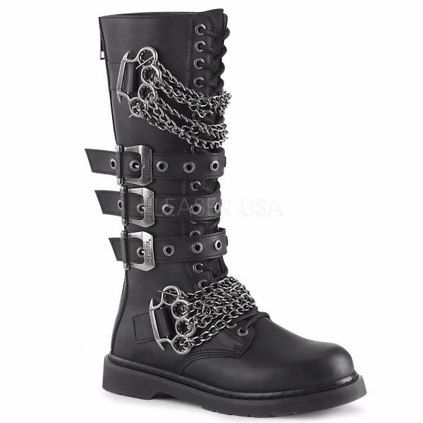 Product image of Demonia Bolts-450 Black Vegan Faux Leather 1 1/4 inch (3.2 cm) Heel 20 Eyelet  Knee High Combat Boot Side Zip