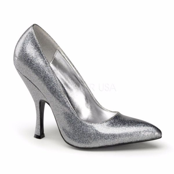 Product image of Pin Up Couture BOMBSHELL-01G Silver Pearlized Glitter Patent 4 1/2 inch (11.4 cm) Curved Heel Classic Pump Court Pump Shoes