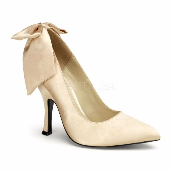 Product image of Pin Up Couture BOMBSHELL-03 Champagne Satin 4 1/2 inch (11.4 cm) Heel Pump With  Large Satin Bows At Back Court Pump Shoes