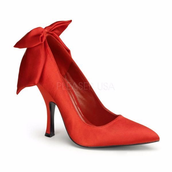 Product image of Pin Up Couture BOMBSHELL-03 Red Satin 4 1/2 inch (11.4 cm) Heel Pump With  Large Satin Bows At Back Court Pump Shoes