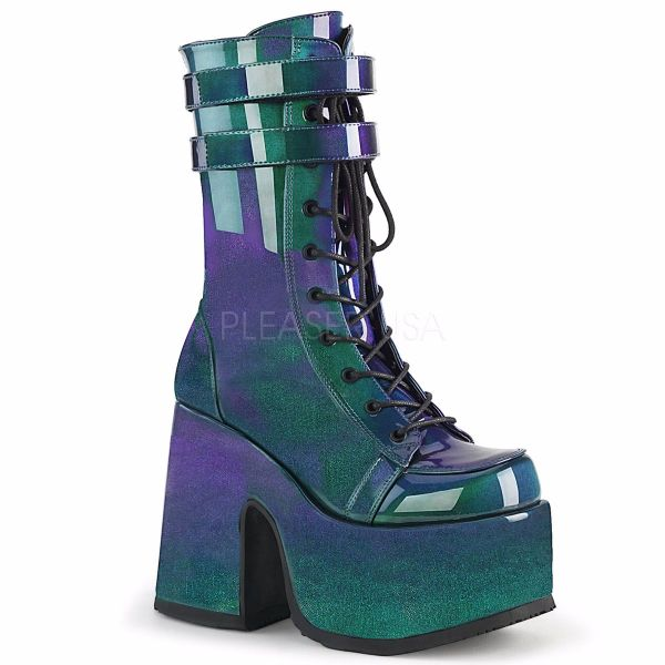 Product image of Demonia CAMEL-250 Purple-Green Patent 5 inch (12.7 cm) Chunky Heel 3 inch (7.5 cm) P/F Lace-Up Mid-Calf Boot Back Zip