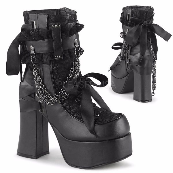 Product image of Demonia CHARADE-110 Black Vegan Faux Leather-Lace Overlay 4 1/2 inch (11.4 cm) Heel 2 inch (5.1 cm) Platform Ankle Boot Side Zip