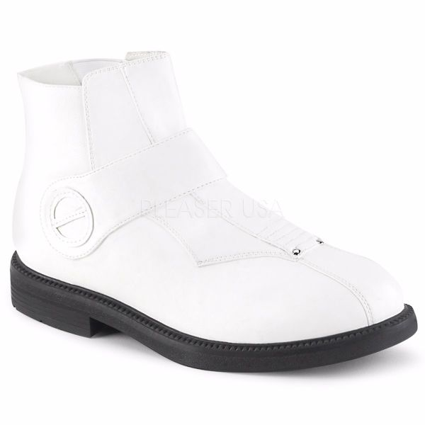 Product image of Funtasma CLONE-102 White Faux Leather 1 inch (2.5 cm) Stacked Heel Men's Ankle Boot