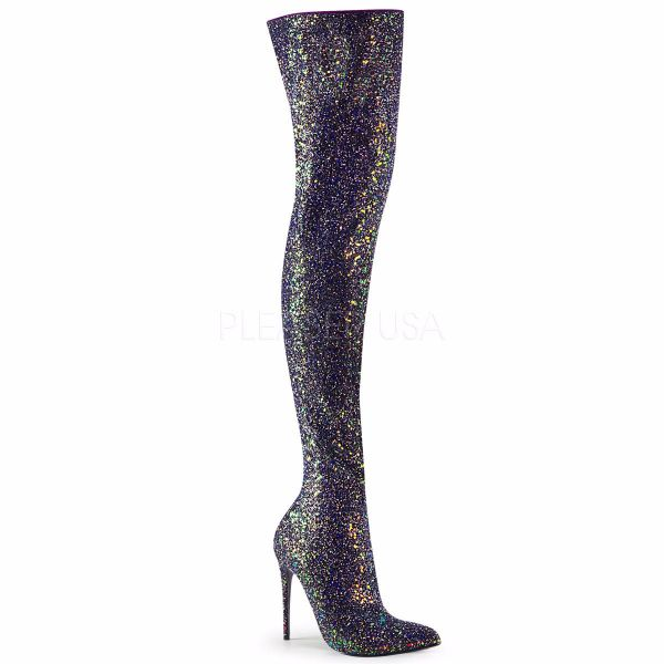 Product image of Pleaser COURTLY-3015 Black Multicolour Glitter 5 inch (11.6 cm) Glitter Thigh High Boot 1/3 Side Zip