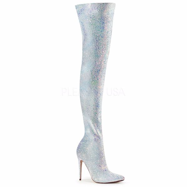 Product image of Pleaser COURTLY-3015 White Multicolour Glitter 5 inch (11.6 cm) Glitter Thigh High Boot 1/3 Side Zip