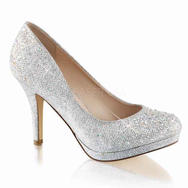 Product image of Fabulicious COVET-02 Silver Glitter Mesh Fabric 3 1/2 inch (8.9 cm) Heel 1/2 inch (1.3 cm) Platform Pump With Rhinestones Embellishment Court Pump Shoes