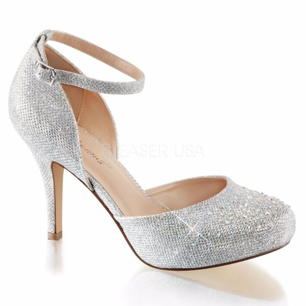 Product image of Fabulicious COVET-03 Silver Glitter Mesh Fabric 3 1/2 inch (8.9 cm) Heel 1/2 inch (1.3 cm) Hidden Platform Ankle Strap D'orsay Pump Court Pump Shoes