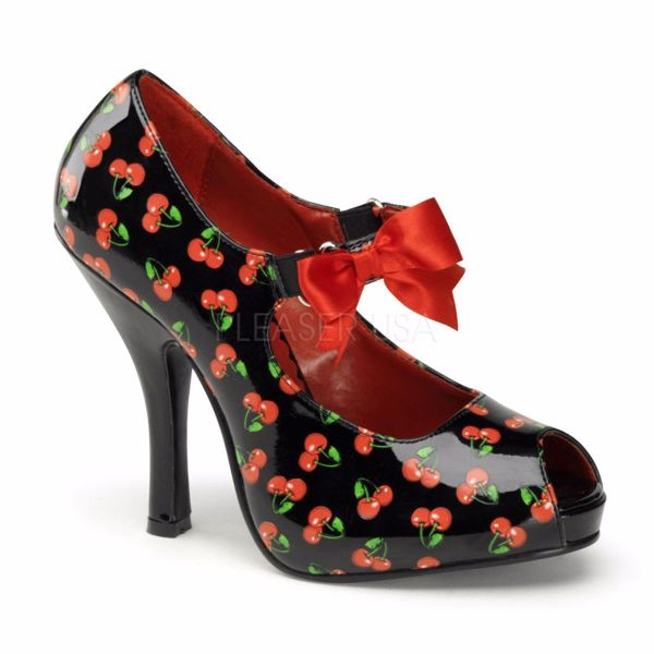 Product image of Pin Up Couture CUTIEPIE-07 Black-Red Patent (Cherries Print) 4 1/2 inch (11.4 cm) Heel 3/4 inch (2.5 cm) Hidden Platform Open Toe Mary Jane With  Bows