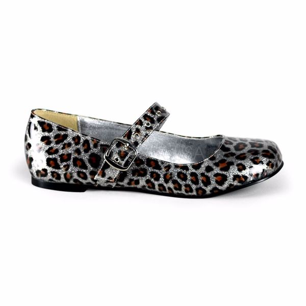 Product image of Demonia DAISY-04 Silver Pearlized Glitter Patent Gothic Cyberpunk Roackabilly Ballet Flat Mj With  Animal Print