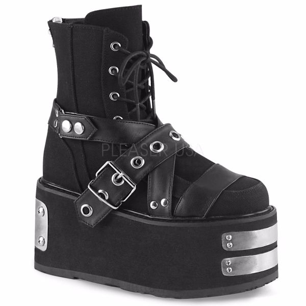Product image of Demonia DAMNED-116 Black Canvas-Vegan Faux Leather 3 1/2 inch Platform Lace-Up Ankle Boot Back Zip