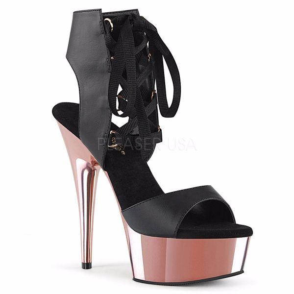 Product image of Pleaser DELIGHT-600-14 Black Faux Leather/Rose Gold Chrome 6 inch (15.2 cm) Heel 1 3/4 inch (4.5 cm) Platform Front Lace-Up Sandal Shoes