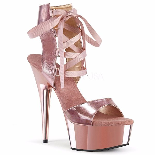 Product image of Pleaser DELIGHT-600-14 Rose Gold Metallic Polyurethane (Pu)/Rose Gold Chrome 6 inch (15.2 cm) Heel 1 3/4 inch (4.5 cm) Platform Front Lace-Up Sandal Shoes
