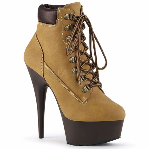 Product image of Pleaser DELIGHT-600TL-02 Tan Faux Suede Faux Leather/Dark Brown Matte 6 inch (15.2 cm) Heel 1 3/4 inch (4.5 cm) Platform Lace-Up Front Bootie Side Zip