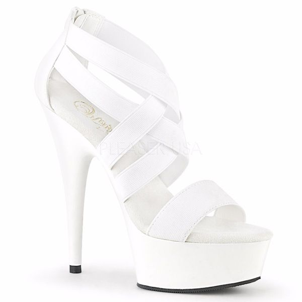 Product image of Pleaser DELIGHT-669 White Elastic Band-Faux Leather/White 6 inch (15.2 cm) Heel 1 3/4 inch (4.5 cm) Platform Criss Cross Sandal Back Zip Shoes