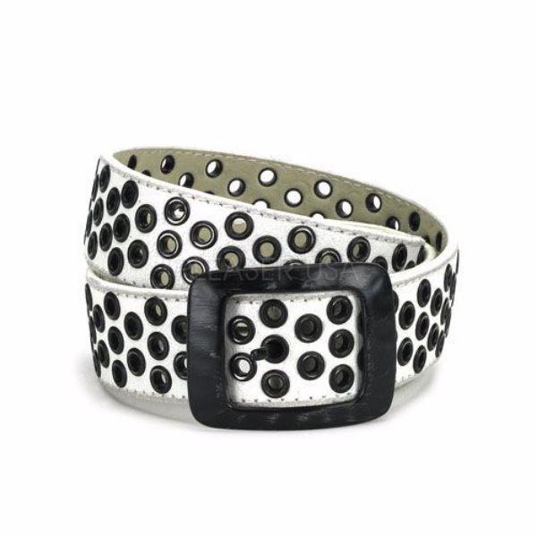 Product image of Demonia DM-137888473 White Faux Leather 1 1/2 inch White Faux Leather Eyelet Belt