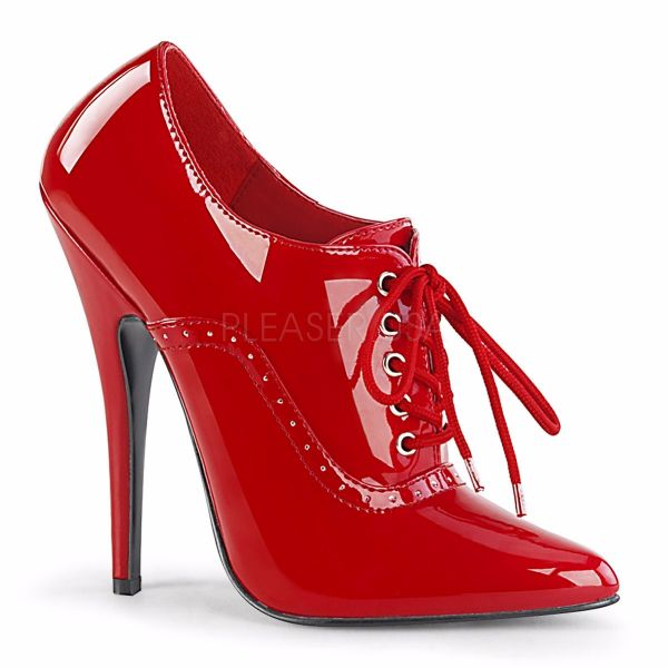 Product image of Devious DOMINA-460 Red Patent 6 inch (15.2 cm) Heel Oxford Lace-Up Pump Court Pump Shoes