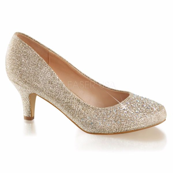 Product image of Fabulicious DORIS-06 Nude Glitter Mesh Fabric 2 1/2 inch (6.4 cm) Kitten Heel Pump Embellished With Rhinestones Glitter Court Pump Shoes