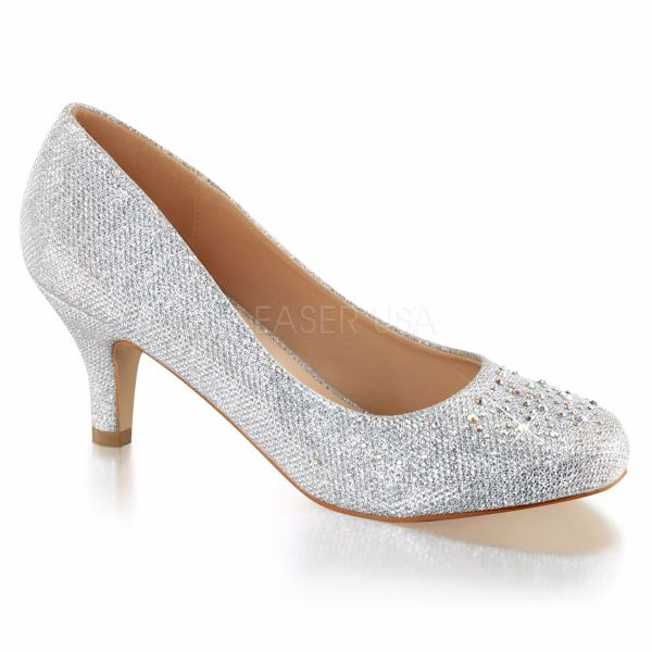Product image of Fabulicious DORIS-06 Silver Glitter Mesh Fabric 2 1/2 inch (6.4 cm) Kitten Heel Pump Embellished With Rhinestones Glitter Court Pump Shoes