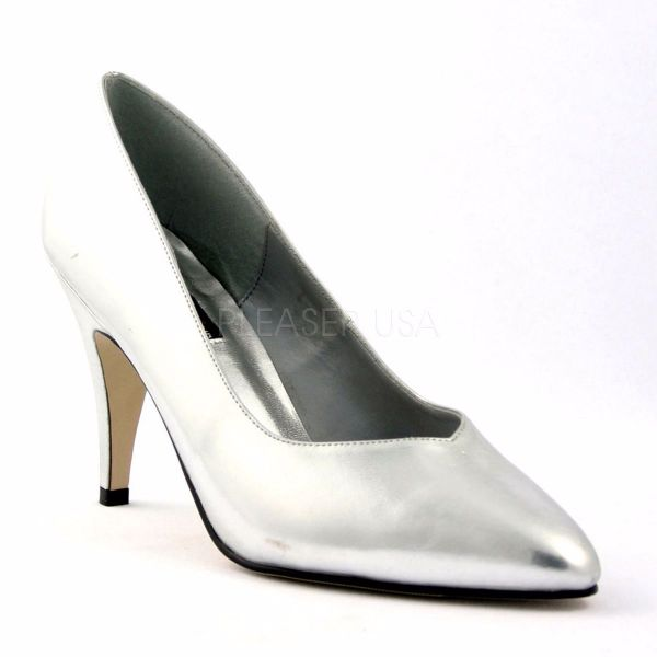 Product image of Pleaser DREAM-420W Silver Faux Leather 4 inch (10.2 cm) Heel Pump