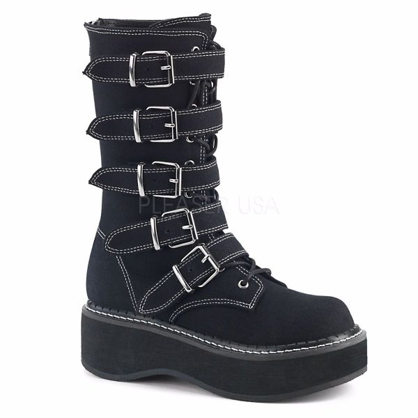 Product image of Demonia EMILY-341 Black Canvas 2 inch Platform Mid-Calf Boot With  5 Buckles Straps Metal Back Zip
