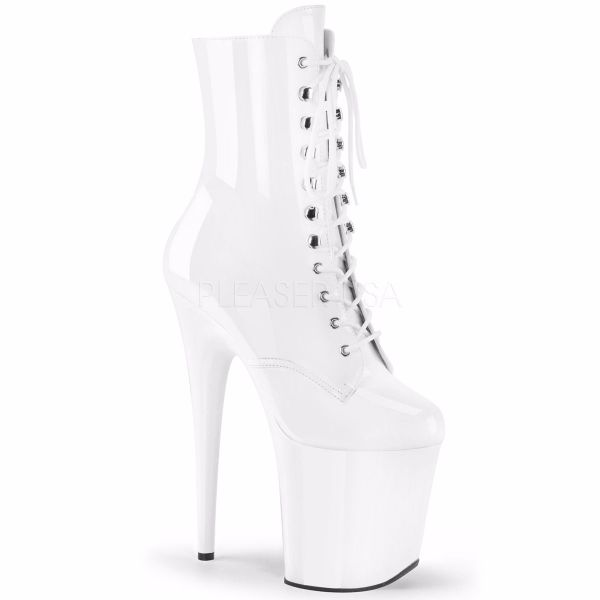 Product image of Pleaser FLAMINGO-1020 White Patent/White 8 inch (20.3 cm) Heel 4 inch (10.2 cm) Platform Lace-Up Ankle Boot Side Zip