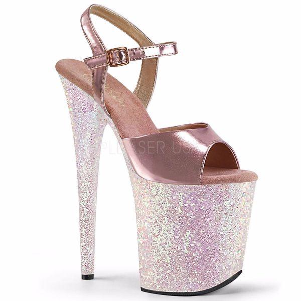 Product image of Pleaser FLAMINGO-809LG Rose Gold Metallic Polyurethane (Pu)/Multicolour Multicolour Glitter 8 inch (20.3 cm) Heel 4 inch (10.2 cm) Platform Ankle Strap Sandal With  Glitter Bottom Shoes