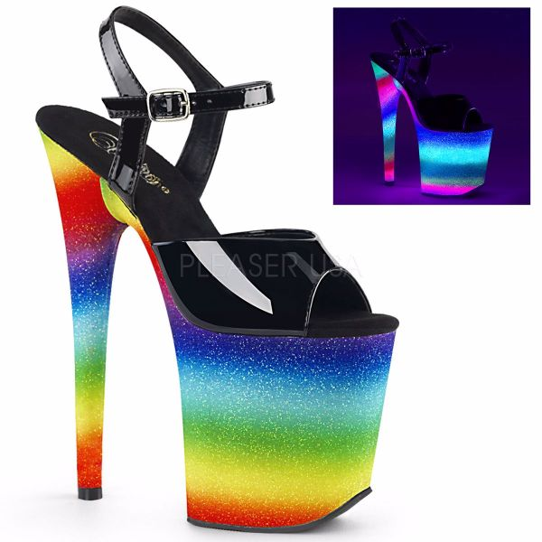 Product image of Pleaser FLAMINGO-809WR Black Patent/Rainbow Glitter 8 inch (20.3 cm) Heel 4 inch (10.2 cm) Wrapped Platform Ankle Strap Sandal Shoes