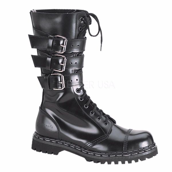 Product image of Demonia GRAVEL-14 Black Faux Leather 1 1/4 inch (3.2 cm) Heel,14 Eyelets Black Faux Leather 3 Straps S/T Mid Calf Bt