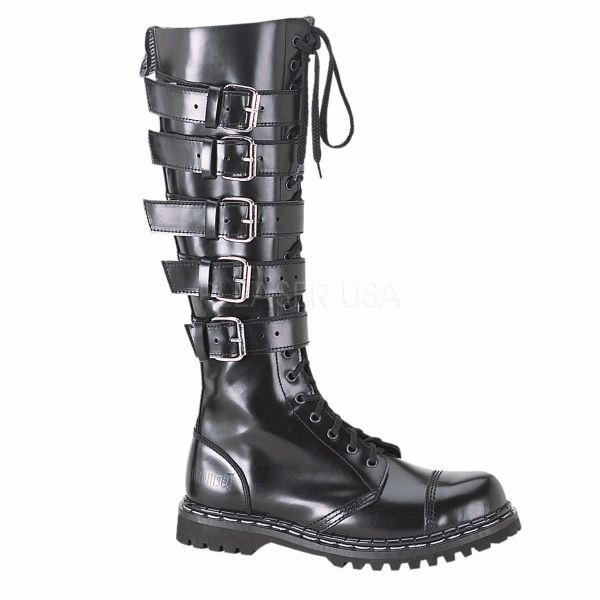 Product image of Demonia GRAVEL-20 Black Faux Leather 1 1/4 inch (3.2 cm) Heel 20 Eyelet Black Faux Leather 5 Straps S/T Knee Boot