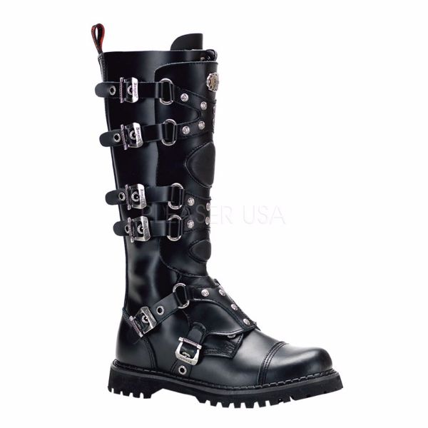 Product image of Demonia GRAVEL-22 Black Faux Leather Knee Combat S/T Bt With  Straps Metal Detail Zip