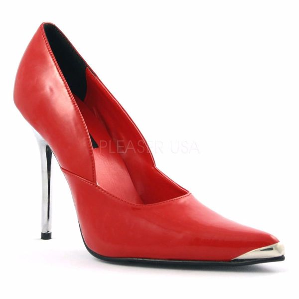 Product image of Pleaser HEAT-01 Red Patent 4-1/2 inch (11.4 cm) Spikes Chrome Metal Heel Shoes