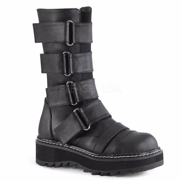 Product image of Demonia LILITH-211 Black Vegan Faux Leather 1 1/4 inch Platform Front Straps Mid-Calf Boot Side Zip