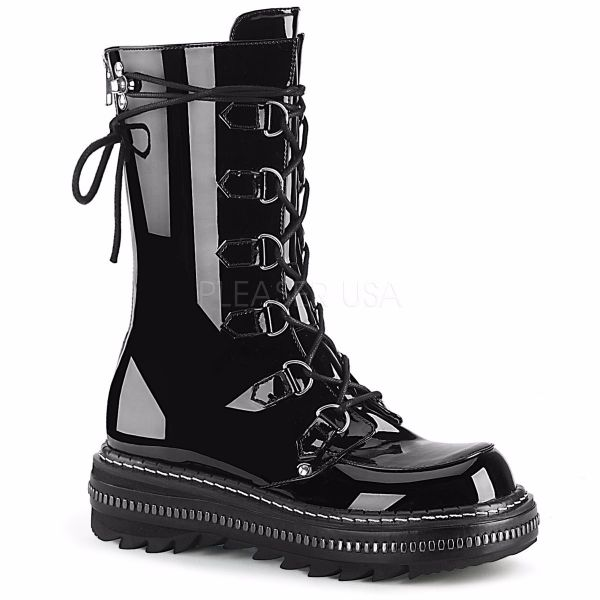 Product image of Demonia LILITH-270 Black Patent 1 1/4 inch Platform Lace-Up Mid-Calf Boot Back Zip