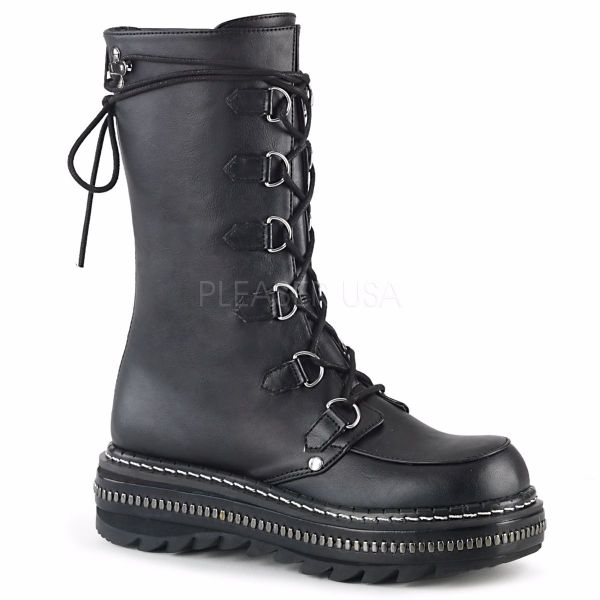 Product image of Demonia LILITH-270 Black Vegan Faux Leather 1 1/4 inch Platform Lace-Up Mid-Calf Boot Back Zip
