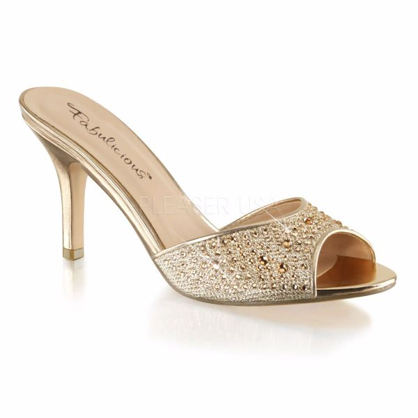 Product image of Fabulicious LUCY-01 Gold Glitter Mesh Fabric 3 1/4 inch (8.3 cm) Heel Slide Embellished With Rhinestones Glitter Slide Mule Shoes