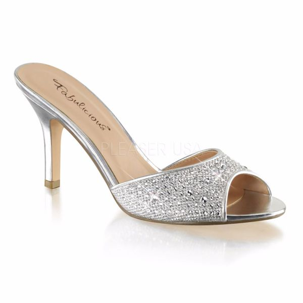 Product image of Fabulicious LUCY-01 Silver Glitter Mesh Fabric 3 1/4 inch (8.3 cm) Heel Slide Embellished With Rhinestones Glitter Slide Mule Shoes