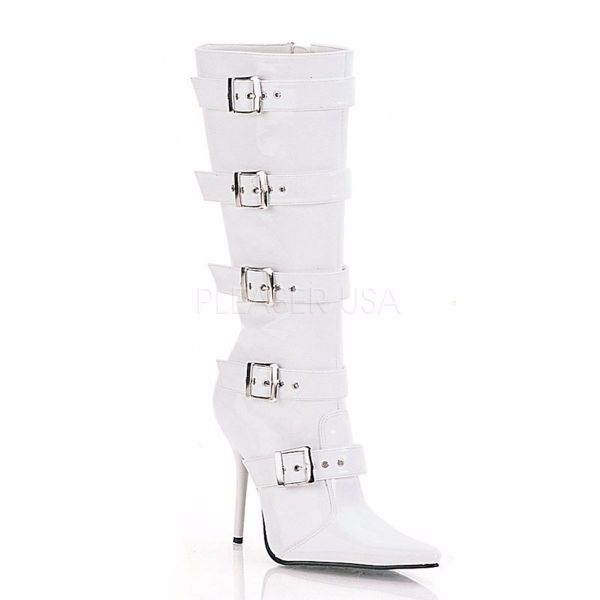 Product image of Pleaser MILAN-2015 White Patent 4 1/2 inch (11.4 cm) Knee Bt Featuring Buckles