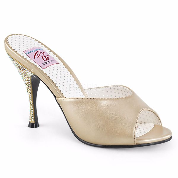 Product image of Pin Up Couture MONROE-05 Champagne Faux Leather 4 1/4 inch (10.8 cm) Flared Heel Slide Slide Mule Shoes