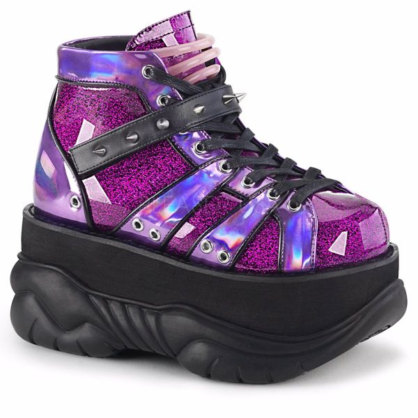 Product image of Demonia NEPTUNE-100 Purple Glitter-Holographic 3 inch Platform Lace-Up Ankle Bootie With  Hook N' Loop Straps