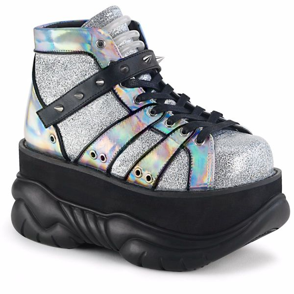 Product image of Demonia NEPTUNE-100 Silver Glitter-Holographic 3 inch Platform Lace-Up Ankle Bootie With  Hook N' Loop Straps