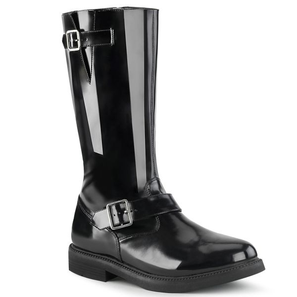 Product image of Funtasma OFFICER-201 Black Faux Leather Polyurethane (Pu) 1 inch (2.5 cm) Stacked Heel Men's Knee High Boot Side Zip