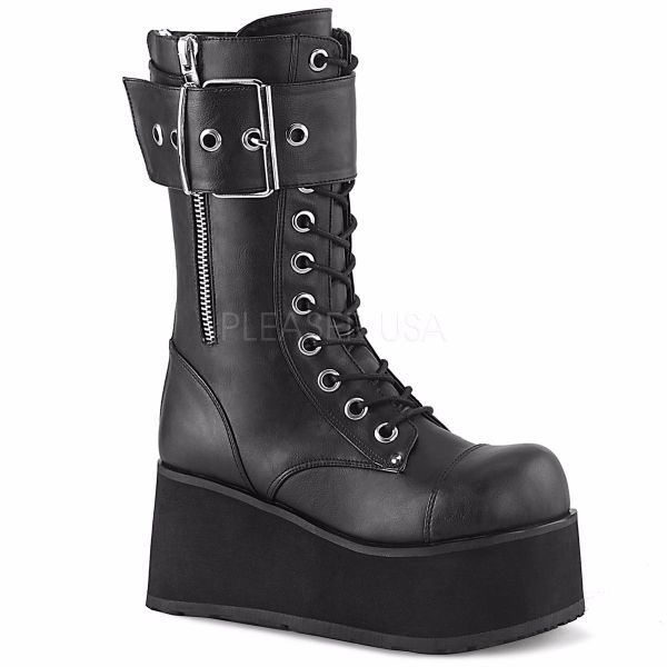 Product image of Demonia PETROL-150 Black Vegan Faux Leather 3 1/2 inch Platform Lace-Up Mid-Calf Boot Back Zip