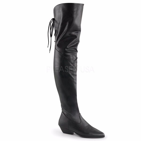 Product image of Pleaser RODEO-8822 Black Faux Leather 1 1/2 inch (3.8 cm) Heel Thigh Hi Cow Leather Boot